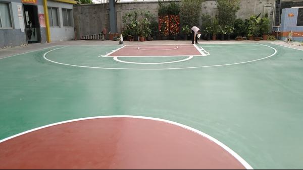 佛山安亿纳米材料有限公司选用地卫士篮球场地坪工程